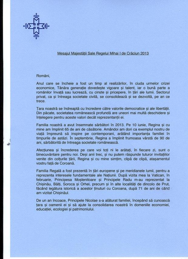 sursa: http://www.princeradu.ro/news/5570/17/Mesajul-Majestatii-Sale-Regelui-Mihai-I-de-Craciun-2013/